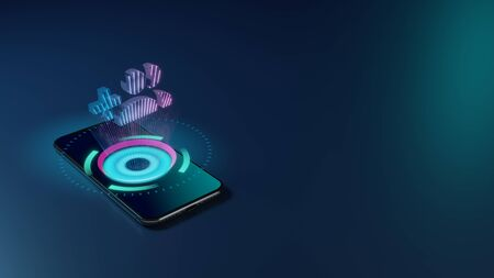3D rendering smartphone with display emitting neon violet pink blue holographic symbol of create group of two people and plus symbol icon on dark background with blurred reflection Stock fotó