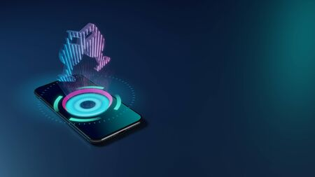 3D rendering smartphone with display emitting neon violet pink blue holographic symbol of two wine glass in cheers gesture icon on dark background with blurred reflection Stock fotó