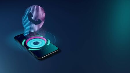 3D rendering smartphone with display emitting neon violet pink blue holographic symbol of communication bubble with headphone inside icon on dark background with blurred reflection