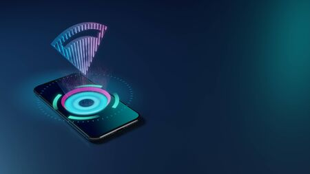3D rendering smartphone with display emitting neon violet pink blue holographic symbol of connection volume full icon on dark background with blurred reflection