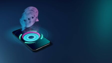 3D rendering smartphone with display emitting neon violet pink blue holographic symbol of two rounded chat bubbles with three dots icon on dark background with blurred reflection