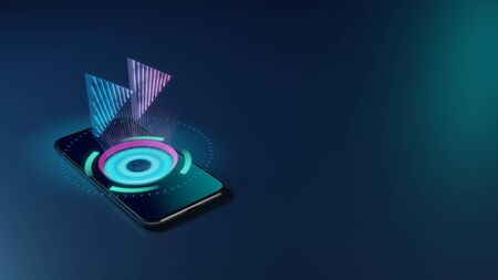 3D rendering smartphone with display emitting neon violet pink blue holographic symbol of double fast forward right triangle arrows icon on dark background with blurred reflection