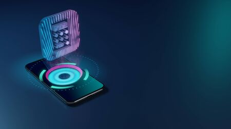 3D rendering smartphone with display emitting neon violet pink blue holographic icon of calculator app in iOS style icon on dark background with blurred reflection
