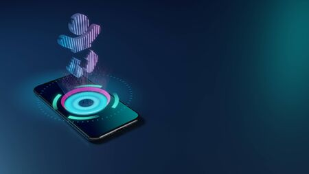 3D rendering smartphone with display emitting neon violet pink blue holographic symbol of baby icon on dark background with blurred reflection Stock Photo