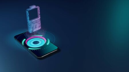 3D rendering smartphone with display emitting neon violet pink blue holographic vertical symbol of half charged battery  icon on dark background with blurred reflection