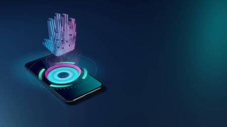 3D rendering smartphone with display emitting neon violet pink blue holographic symbol of allergic reaction on hand icon on dark background with blurred reflection