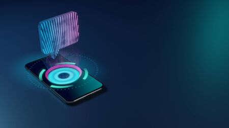 3D rendering smartphone with display emitting neon violet pink blue holographic symbol of rectangular rounded chat bubble icon on dark background with blurred reflection
