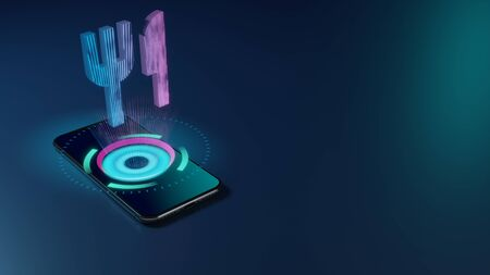 3D rendering smartphone with display emitting neon violet pink blue holographic symbol of fork and knife icon on dark background with blurred reflection Stok Fotoğraf