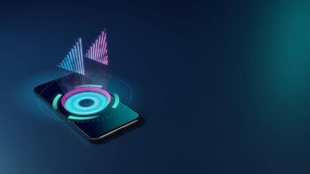 3D rendering smartphone with display emitting neon violet pink blue holographic symbol of double fast backward left triangle arrows icon on dark background with blurred reflection