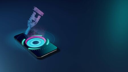 3D rendering smartphone with display emitting neon violet pink blue holographic symbol of hospital crutch icon on dark background with blurred reflection
