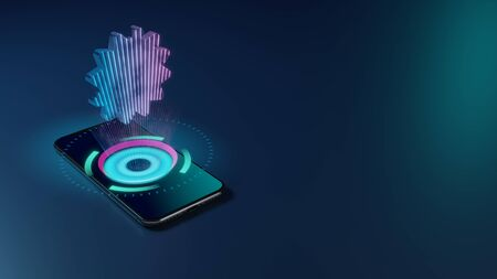 3D rendering smartphone with display emitting neon violet pink blue holographic symbol of certificate badge icon on dark background with blurred reflection