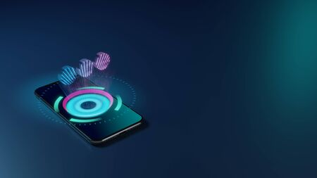3D rendering smartphone with display emitting neon violet pink blue holographic symbol of three dots in horizontal position icon on dark background with blurred reflection