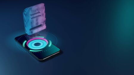 3D rendering smartphone with display emitting neon violet pink blue holographic symbol of close book icon on dark background with blurred reflection