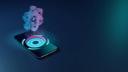 3D rendering smartphone with display emitting neon violet pink blue holographic symbol of atom icon on dark background with blurred reflection Imagens