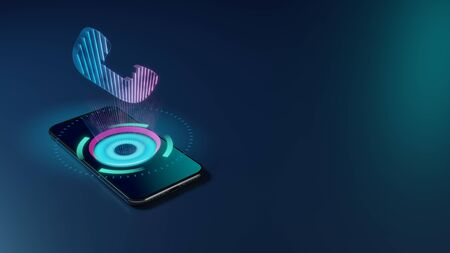 3D rendering smartphone with display emitting neon violet pink blue holographic symbol of headphone icon on dark background with blurred reflection