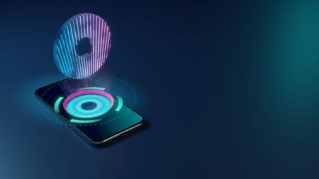 3D rendering smartphone with display emitting neon violet pink blue holographic symbol of circle with hole in the middle icon on dark background with blurred reflection