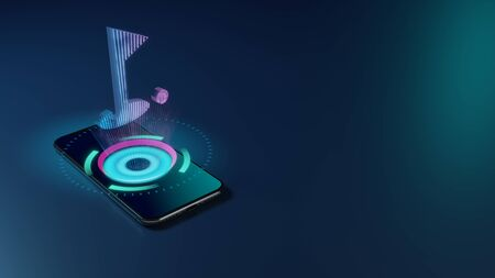 3D rendering smartphone with display emitting neon violet pink blue holographic symbol of golf hole with flag and ball icon on dark background with blurred reflection