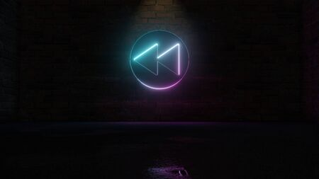 3D rendering of blue violet neon symbol of fast forward in circle on dark brick wall background with wet blurred reflection