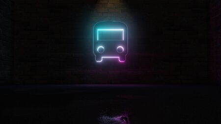 3D rendering of blue violet neon symbol of front view of a bus on dark brick wall background with wet blurred reflection