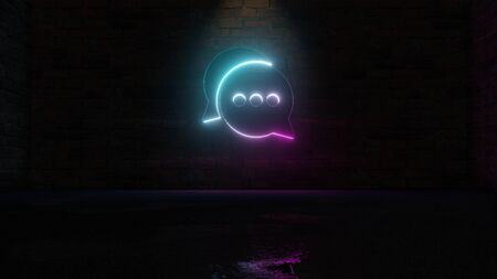 3D rendering of blue violet neon symbol of two rounded chat bubbles with three dots on dark brick wall background with wet blurred reflection Stok Fotoğraf