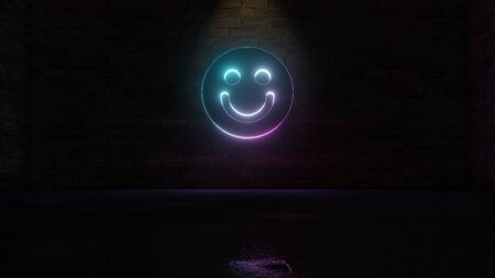 3D rendering of blue violet neon symbol of smiling emoticon on dark brick wall background with wet blurred reflection