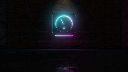 3D rendering of blue violet neon symbol of rectangle alarm clock on dark brick wall background with wet blurred reflection