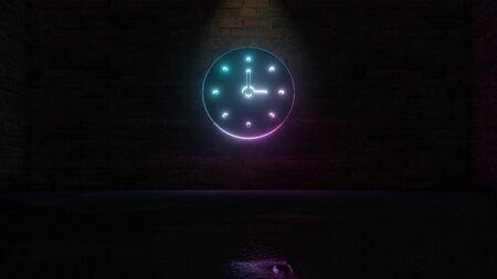 3D rendering of blue violet neon symbol of wall clock on dark brick wall background with wet blurred reflection Stockfoto