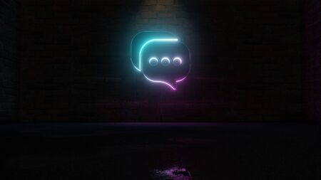 3D rendering of blue violet neon symbol of two rectangular rounded chat bubble with three dots on dark brick wall background with wet blurred reflection