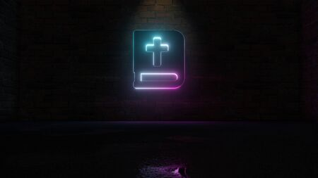 3D rendering of blue violet neon symbol of bible on dark brick wall background with wet blurred reflection Stockfoto
