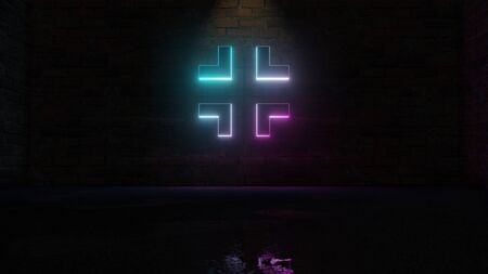 3D rendering of blue violet neon symbol of exit arrows on dark brick wall background with wet blurred reflection