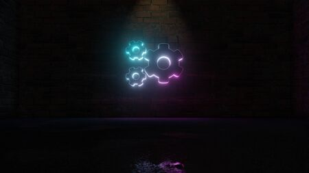 3D rendering of blue violet neon symbol of big cogwheel and two small cogwheels on dark brick wall background with wet blurred reflection