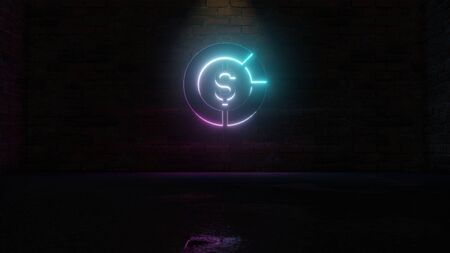 3D rendering of blue violet neon symbol of circular diagram with dollar symbol in the middle on dark brick wall background with wet blurred reflection