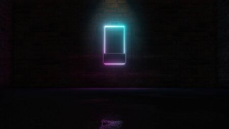 3D rendering of blue violet neon vertical symbol of one fourth charged battery with one piece on dark brick wall background with wet blurred reflection