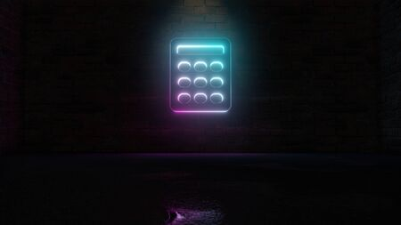 3D rendering of blue violet neon symbol of calculator with rounded buttons on dark brick wall background with wet blurred reflection