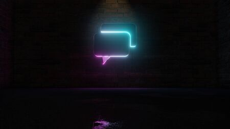 3D rendering of blue violet neon symbol of two rectangular rounded chat bubbles on dark brick wall background with wet blurred reflection Imagens