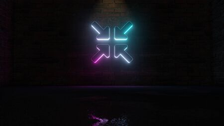 3D rendering of blue violet neon symbol of compress arrows on dark brick wall background with wet blurred reflection