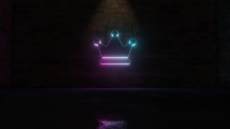 3D rendering of blue violet neon symbol of crown with three tips on dark brick wall background with wet blurred reflection