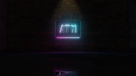3D rendering of blue violet neon symbol of atm sign on dark brick wall background with wet blurred reflection