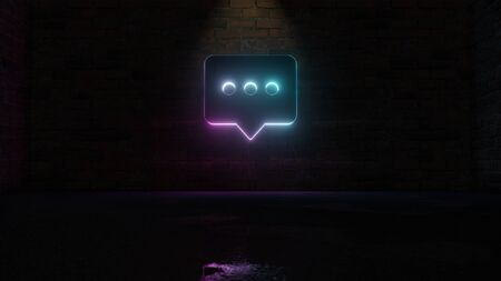 3D rendering of blue violet neon symbol of rectangular rounded chat bubble with three dots on dark brick wall background with wet blurred reflection