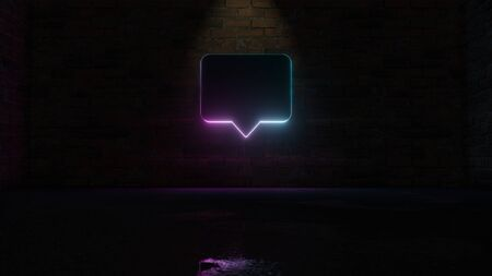 3D rendering of blue violet neon symbol of rectangular chat bubble on dark brick wall background with wet blurred reflection