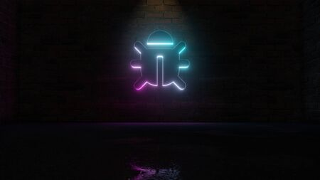 3D rendering of blue violet neon symbol of bug with six legs on dark brick wall background with wet blurred reflection Archivio Fotografico