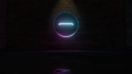 3D rendering of blue violet neon symbol of minus symbol in circle on dark brick wall background with wet blurred reflection