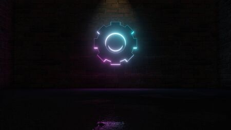 3D rendering of blue violet neon symbol of cogwheel on dark brick wall background with wet blurred reflection