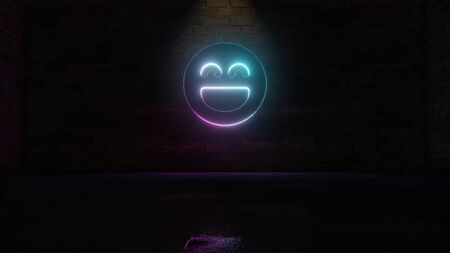 3D rendering of blue violet neon symbol of goofy emoticon  on dark brick wall background with wet blurred reflection