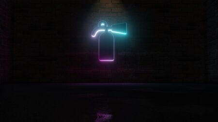 3D rendering of blue violet neon symbol of fire extinguisher bottle on dark brick wall background with wet blurred reflection