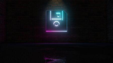 3D-Rendering des blauvioletten Neonsymbols der Diskette auf dunklem Backsteinmauerhintergrund mit nasser unscharfer Reflexion