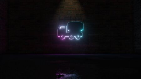 3D rendering of blue violet neon symbol of concrete mixer truck on dark brick wall background with wet blurred reflection