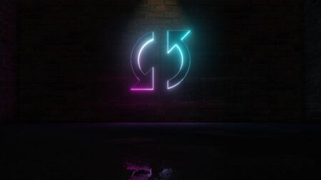 Rendu 3D du néon bleu violet dans le sens des aiguilles d'une montre symbole de double flèche de rafraîchissement sur fond de mur de briques sombres avec réflexion floue humide