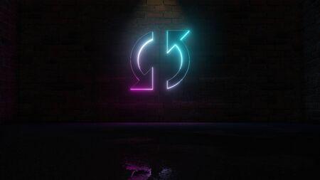 Representación 3D de neón azul violeta en el sentido de las agujas del reloj símbolo de doble flecha de actualización sobre fondo de pared de ladrillo oscuro con reflejo borroso húmedo