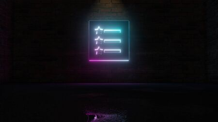 3D rendering of blue violet neon symbol of list with stars and text lines on dark brick wall background with wet blurred reflection